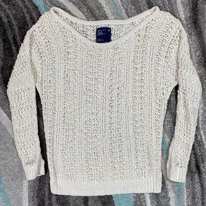 AMERICAN EAGLE OUTFITTERS Cream Crochet Sweater